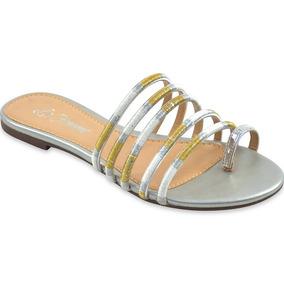 Rasteira La Femme Whishes Ouro/prata Ligth Tiras Metalizadas