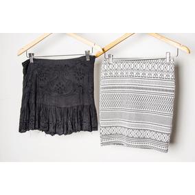 Minifalda Tubo De Algodón Elastizado Blanco Y Negro