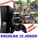 Xbox 360 250gb 2 Controle S/ Fio Wi Fi Live Escolha 12 Jogos