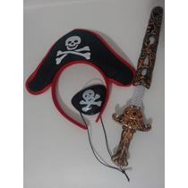 Sombrero Pirata, Parche Y Espada Traje O Disfraz, Fiesta