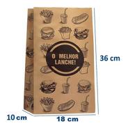 Saco Papel Kraft- M -18x36-impresso Genérico Fast Food 100 U