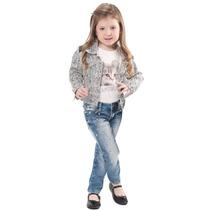 Jaqueta Zebra, Calça Jeans Skinny Strass E Camiseta Gatinh