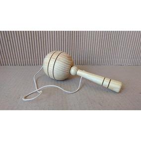 Bilboque Novo Madeira Maçiça Brinquedo Antigo Feito À Mão