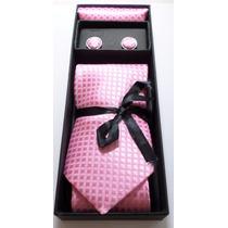 Kit Gravata Rosa Com Abotoaduras, Lenço E Caixa Presente Top