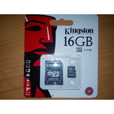 Tarjeta Memoria Micro Sd Kingston 16 Gb Clase 10 Adaptador