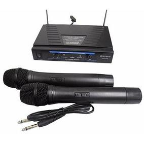 Microfone Sem Fio Duplo Wireless Vhf Karaokê Igreja Kit C/2