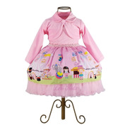 Vestido Infantil Circo Rosa Luxo + Bolero