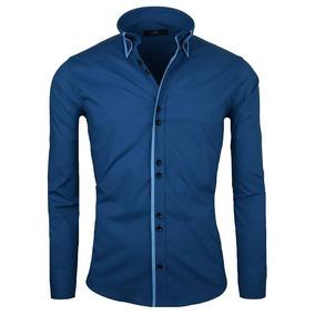 Camisa Slim Fit Lcc45 Navy Sky Marca La Chaqueteria