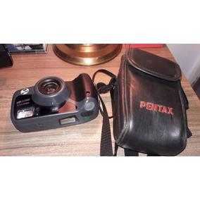 Máquina Câmera Fotográfica Antiga Pentax Zoom Wr90 Com Capa