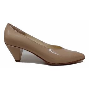 Natacha Zapato Mujer Stiletto Taco Bajo Charol Nude #672