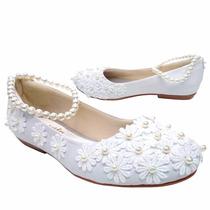 Sapatilha Feminina Para Noivas Bordada Cm Flores E Pérolas