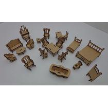 Kit 21 Mini Móveis Miniaturas Mdf Para Casa De Boneca