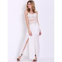 Vestido Largo Encaje Con Tirante-beige Importada Hispter