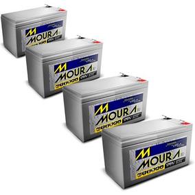 Kit 4 Bateria Selada 12volts 7a Alarmes Cercas Nobreak Moura