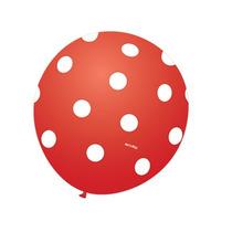 Balão Art-latex Nº9 Vermelho Poá Branco - Bexiga Bolinha 25u