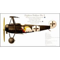 Lienzo Tela Avión Fokker Dr I Alemania 1917 50 X 90cm Poster