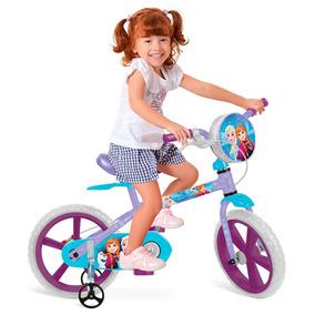 Bicicleta Aro 14 Frozen Disney Com Bolsinha - Bandeirante