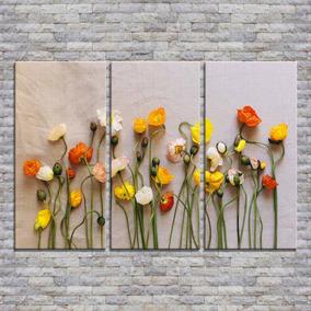 Cuadros Trípticos 90x60 Modernos Decorativos Flores Y Más