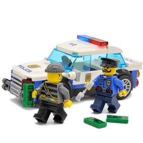 Carro De Policia + 2 Bonecos ( Policial E Ladrão ) 83pcs