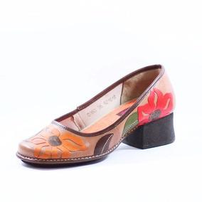 Sapato Estilo Retrô Boneca Salto Grosso Emborrachado Ck0060
