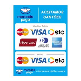 Adesivo Mercado Pago Aceitamos Cartões Bandeiras Kit 2unid