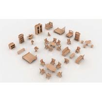 Kit De 38 Muebles Para Casa De Muñecas En Mdf