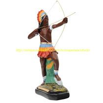 Estatua Caboclo Aimore Escultura 50cm Imagem Gesso Indio Br