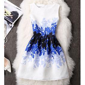 V1329 Vestido Estampado Azul, It Girls Colombia