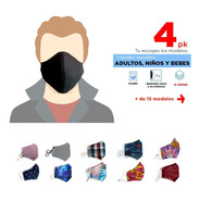 4 Cubrebocas De Tela 4 Capas, Porta Filtro, Ajustable