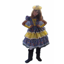 Vestido De Festa Junina Caipira Infantil Luxo Armado + Luva