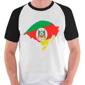 Camiseta Rio Grande Do Sul Mapa Bandeira Camisa Blusa Raglan