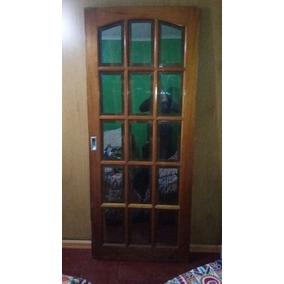 Puerta Cedro Corrediza Vidrio Biselado