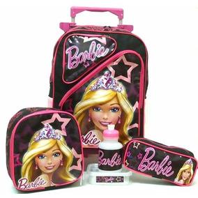 Kit Mochila Barbie Princesa 2 Bolsos Rodinhas + Lancheira