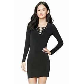 Vestido Ajustado Con Cordones En Color Negro Forever 21