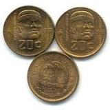 Monedas De 20 Centavos, 1983 Y 1984, Cultura Olmeca Color Or
