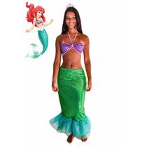 Fantasia Princesa Sereia Ariel Adulto Verão 2017