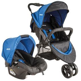 Carrinho De Bebê Trio Com Bebê Conforto Whoop Preto/azul