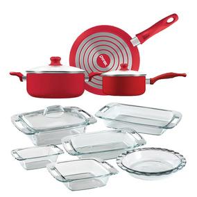 Bateria De Cocina + Set De Fuente Pyrex Sarten Olla Cacerola