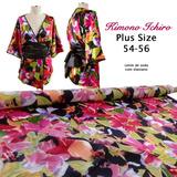 Kimono Ichiro De Cetim De Seda Com Elastano Plus Size 54-56
