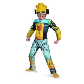 Bumblebee Rescue Bot Costume Muscle Niño, Amarillo / Platea