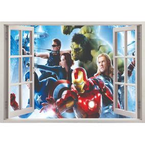 Adesivo Decorativo Janela 3d Os Vingadores Super Heróis M06