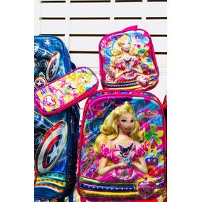 Kit Mochila Infantil Rodinha Barbie Rosa 6d