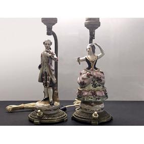 Antiguos Veladores Bronce Y Figuras Porcelana - C/ Detalles