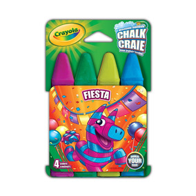 Crayola - Giz Chalk Lavável P/calçada 4 Cores - Fiesta