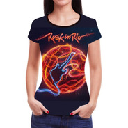 Camiseta Camisa Rock In Rio Roll Feminina  Baby Look Blusa