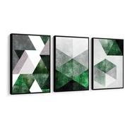 Quadro Abstrato Tons Verde E Cinza Lindo Cimento Tendência