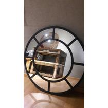 Espejo Marco Repartido Hierro Inustrial Redondo De 90cm