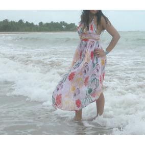 Vestido Plissado Longo Estampada Costas Nuas