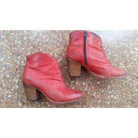 Botas Cortas De Mujer 39 De Cuero Rojo Tomate Marca Clona