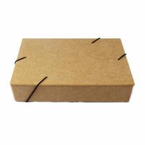 5 Caixa Pasta Com Elastico De Madeira Crua 26x16,5 X 5,5cm